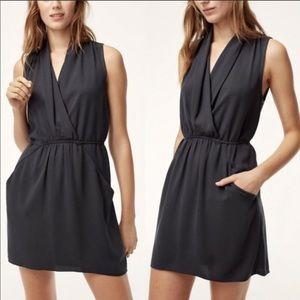 Aritzia Wilfred Sabine faux wrap black dress